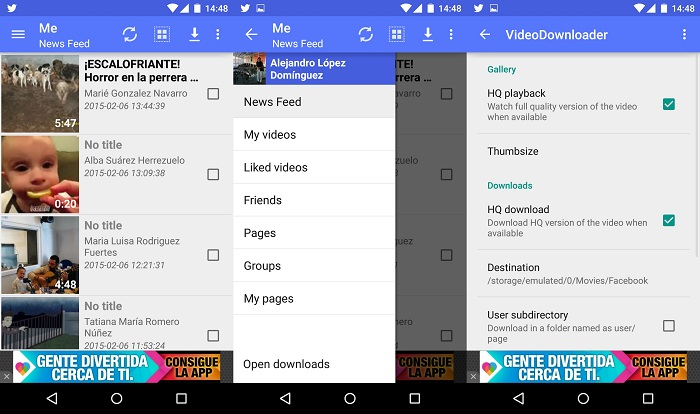 Facebook videos Android