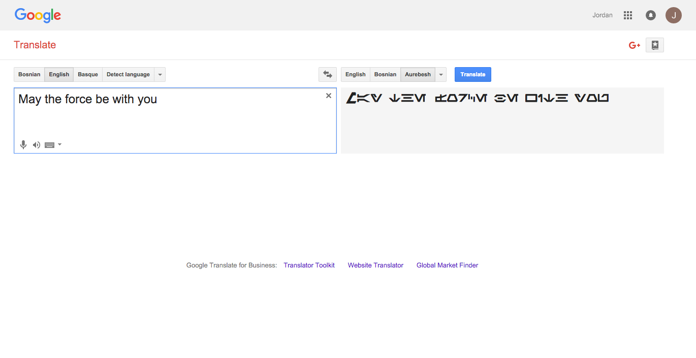 Google Translate Aurebesh