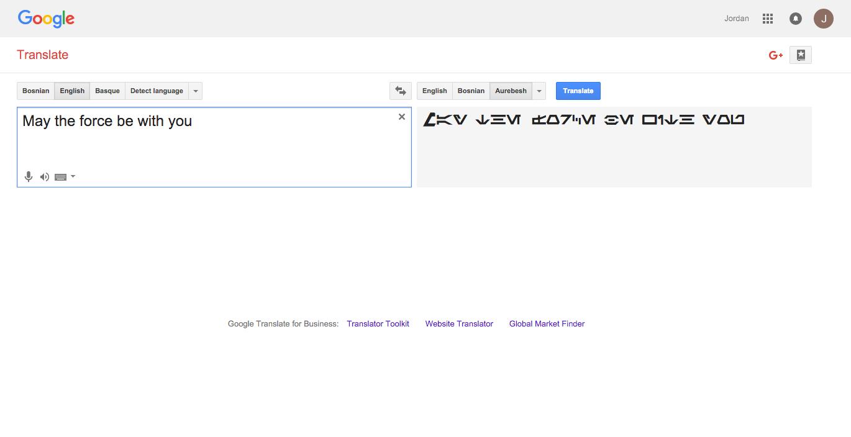 Google Translate Aurebesh