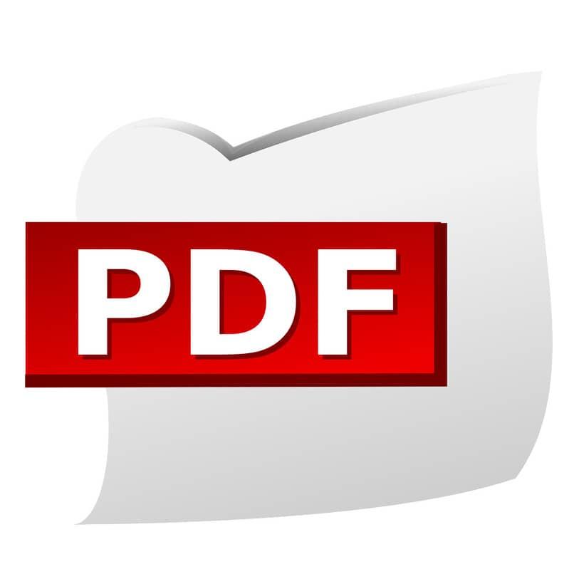 hoja de papel con el logo del formato pdf
