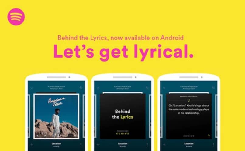 Verlas letras de las canciones en spotify