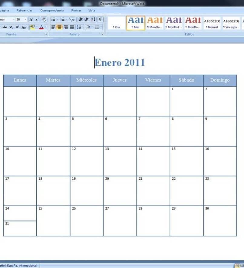 plantillas para hacer calendarios en word