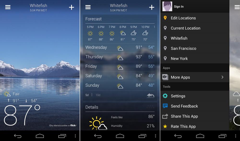 Aplicaciones tiempo clima Android 1