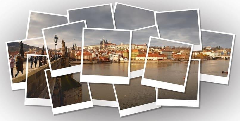 collage de fotos con un paisaje de fondo