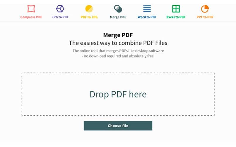ventana que indica proceso para unir pdfs