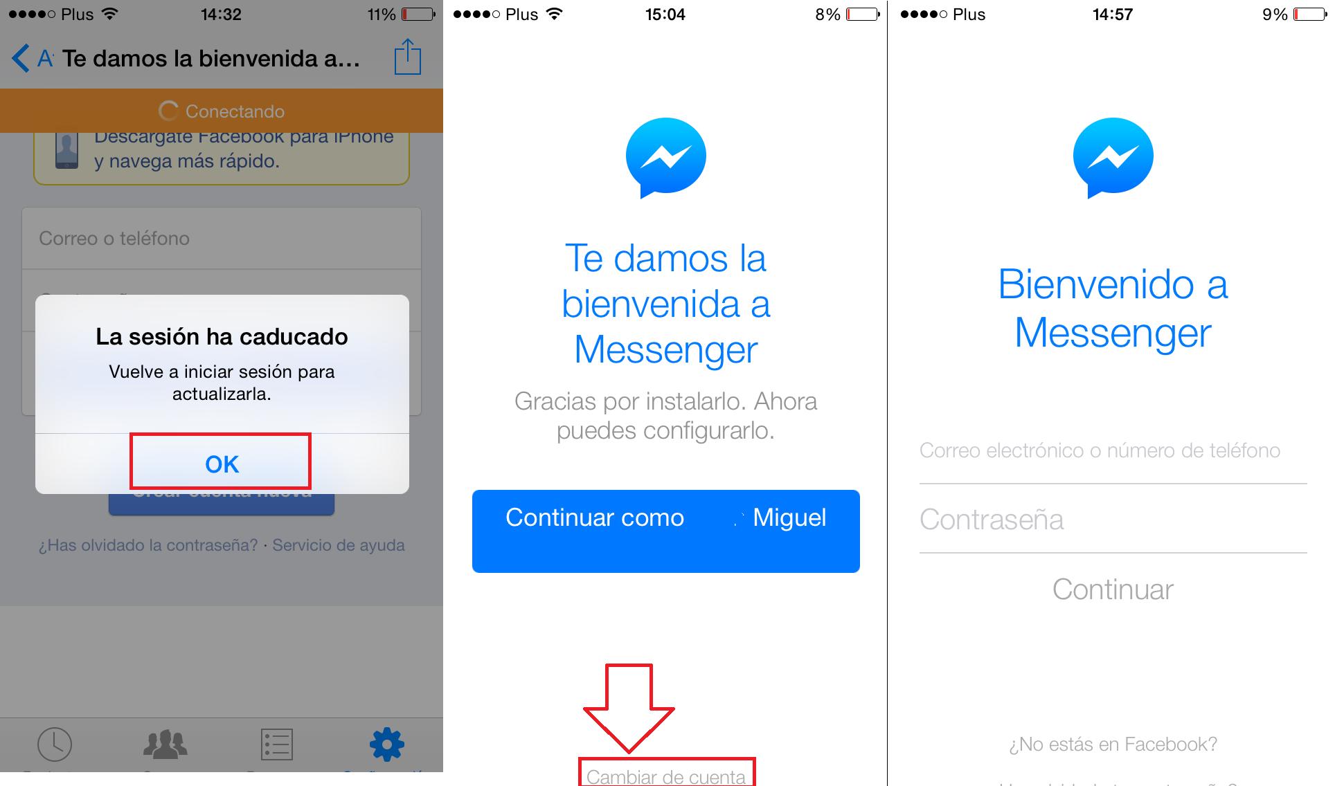 Cerrar sesión Facebook Messenger