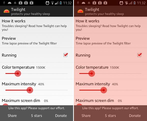 Reguladores pantalla Android