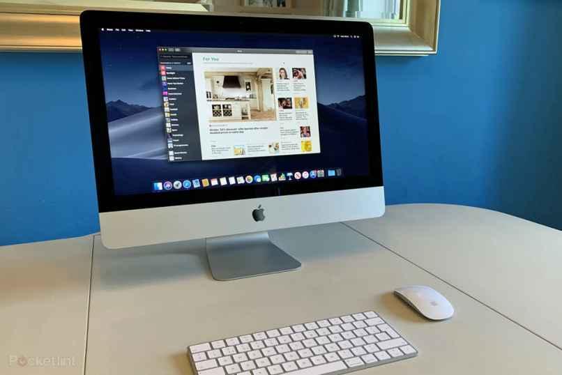 fondo azul computadora de mesa touch apple mac