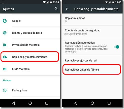 Restaurar de fábrica celular Android
