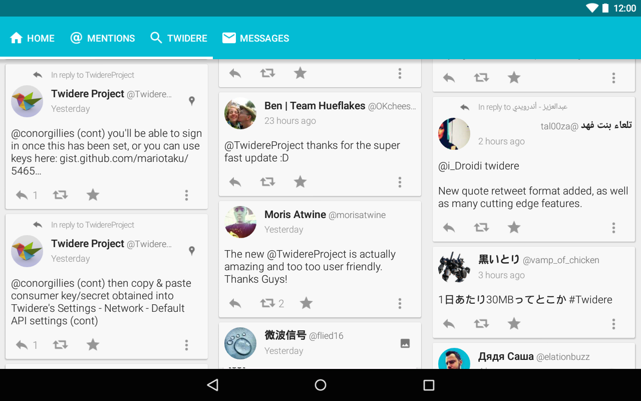 Twitter liviano Android Twidere