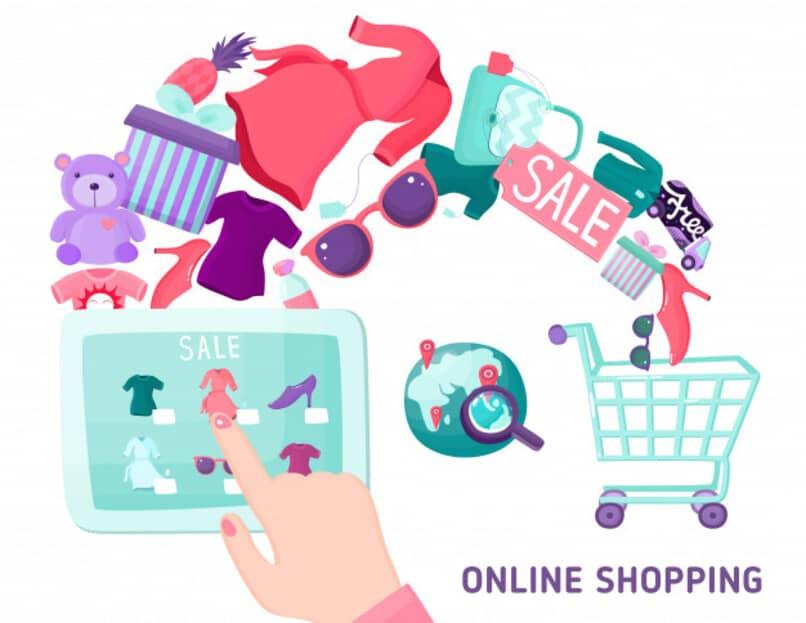ilustracion de compra de ropa via internet y una tablet