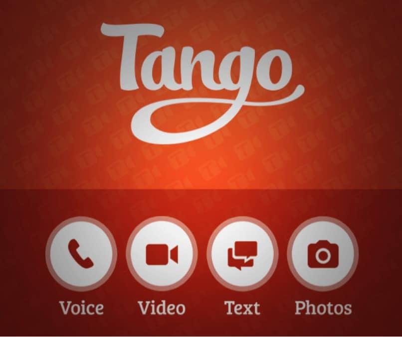 pantalla de tango con opciones de uso