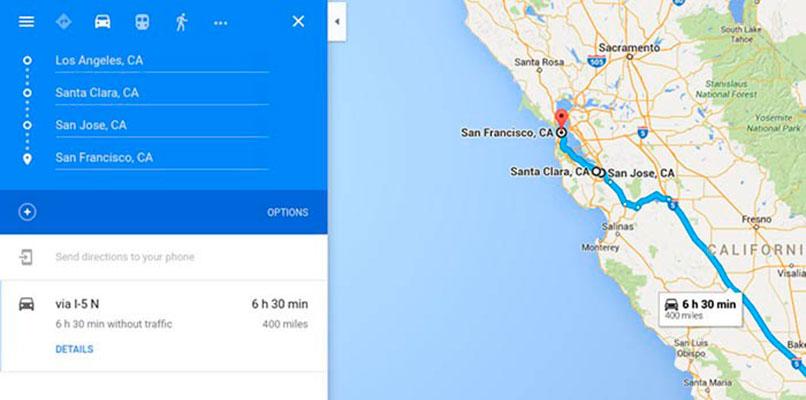 Ruta en un mapa de Google Maps
