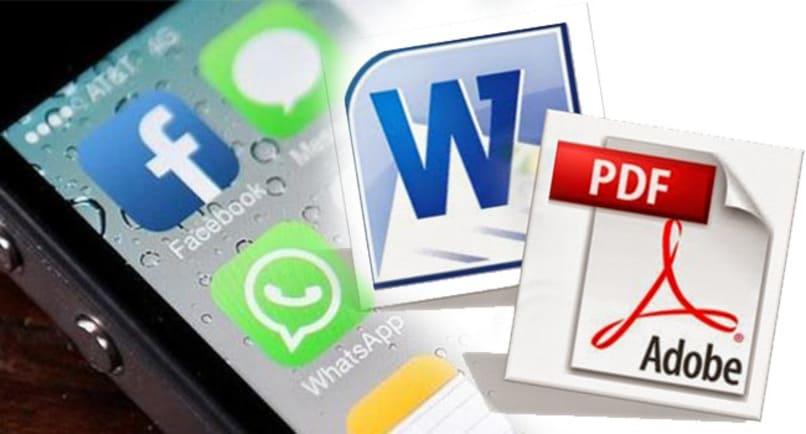 archivos de word y pdf con logo de facebook y whatsapp en el fondo