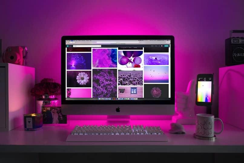 imagenes en ordenador con luces fucsias