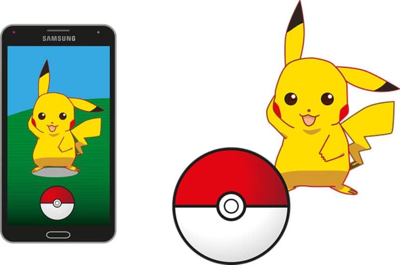 pikachu en movil y junto a una pokebola