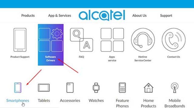 descargar controladores para celular alcatel desde sitio oficial