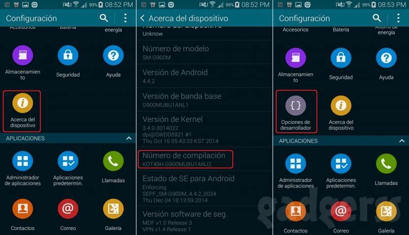 android opciones desarrollador