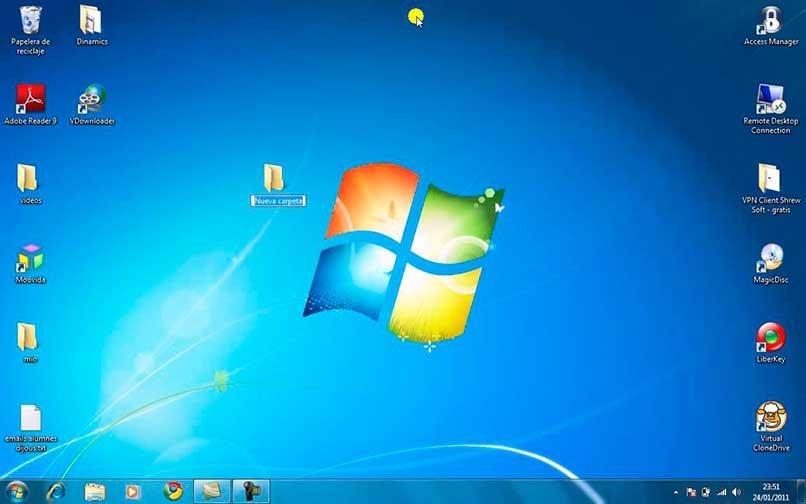 Crear nueva carpeta en escritorio de Windows