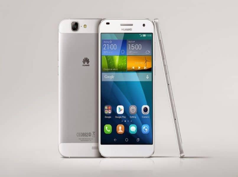 movil android huawei blanco fondo gris