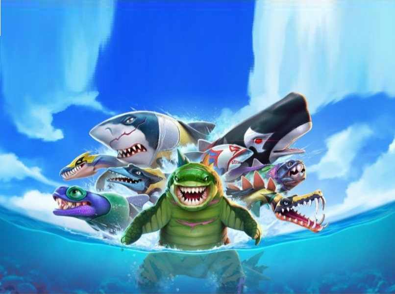 tiburon ballena animales acuaticos megalodon verde mar azul cielo nublado