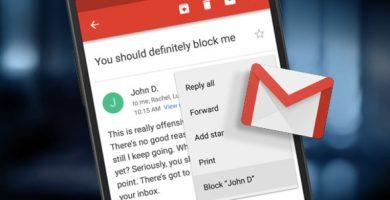 bloquear a alguien en Gmail
