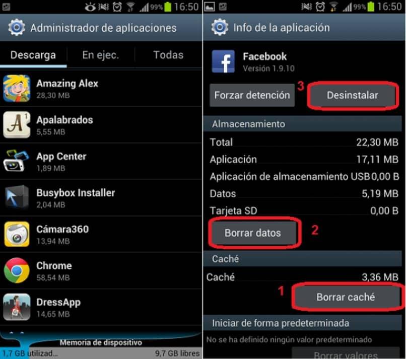 ajustes administrador aplicaciones