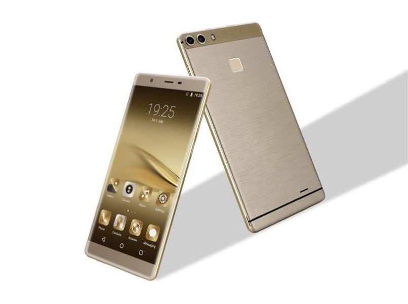dispositivos android color dorado con gris fondo blanco
