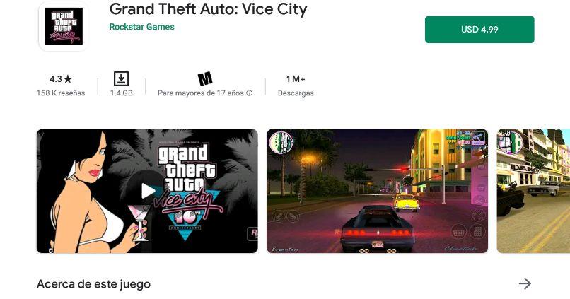 pantalla de google play store descarga gta vice city