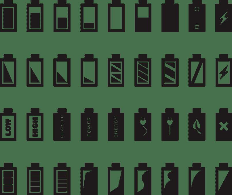 iconos variados de batería