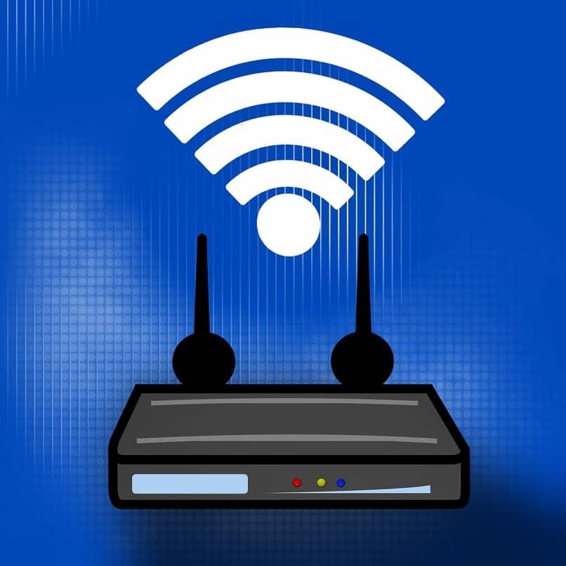 router color negro sobre un fondo azul