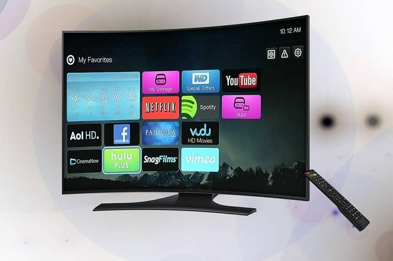 smart tv con diversas aplicaciones en su pantalla