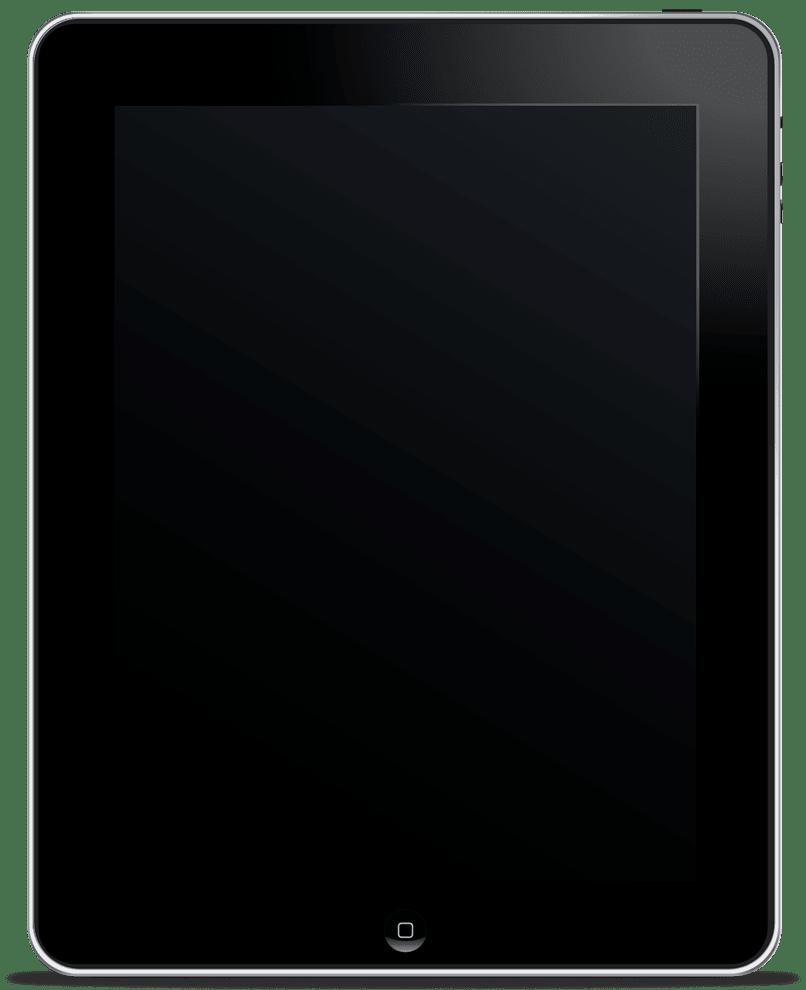 Tablet con pantalla en negro