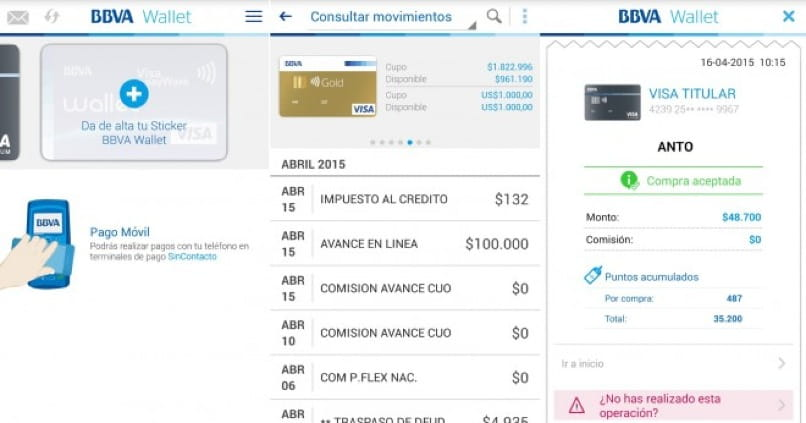 interfaz app bbva para windows phone