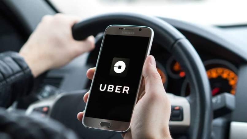 chofer maneja aplicacion uber celular