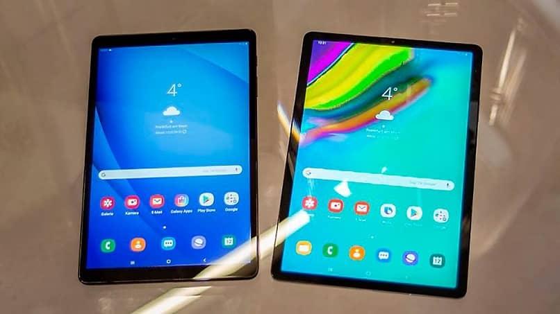 dos tablets pantalla de inicio