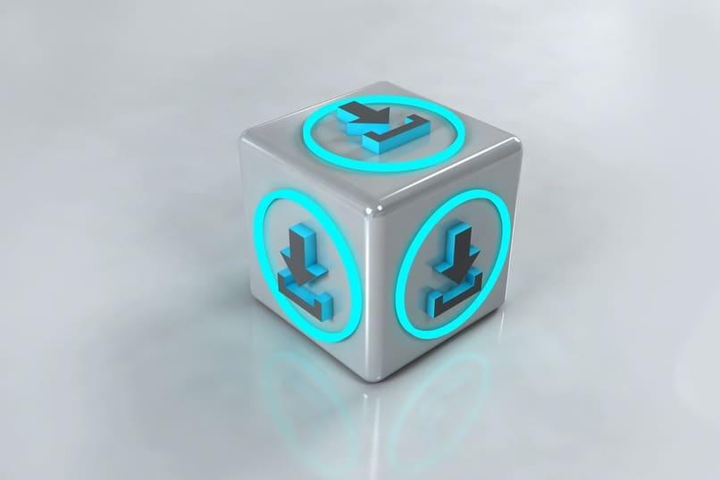icono de descarga en un cubo
