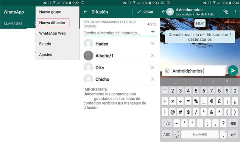 como hacer listas de difusion en whatsapp