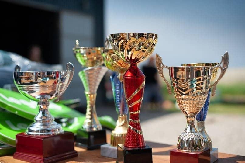 trofeos sobre una mesa