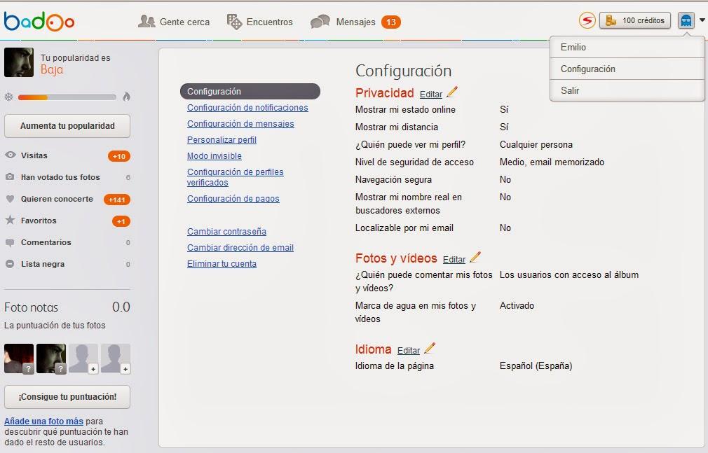 Cómo poner Badoo en Español desde un PC