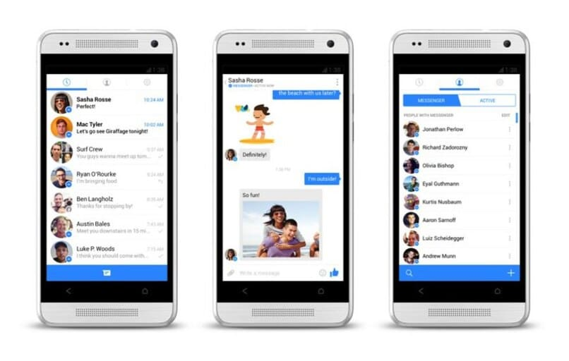 bandeja de entrada de messenger en tres dispositivos moviles