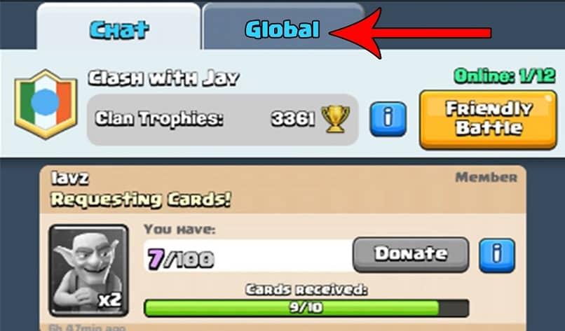 guia para enviar imagen por el chat del juego clash royale