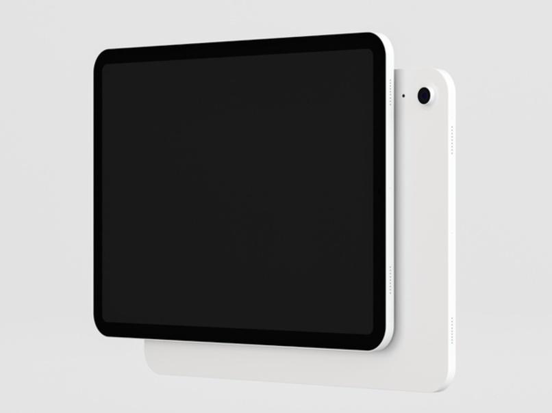 una tablet con la pantalla al frente y otra detras