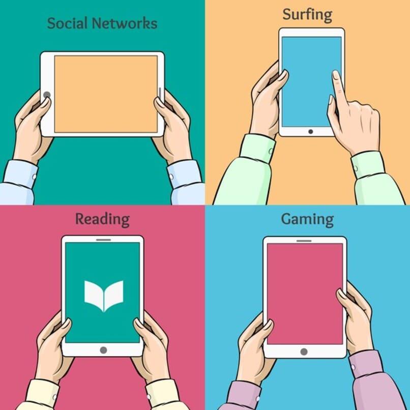 tablets en manos de individuos mientras leen juegan y navegan