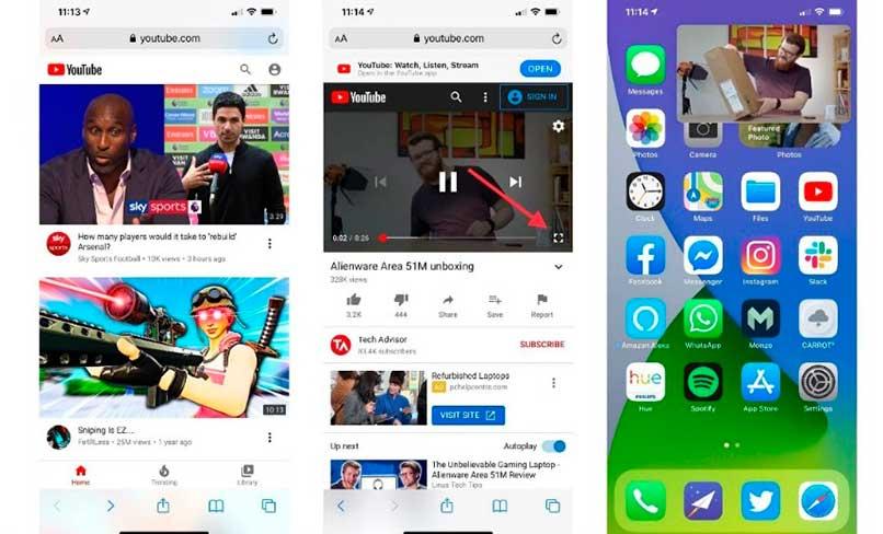 Ver videos en ventana flotante de iPhone