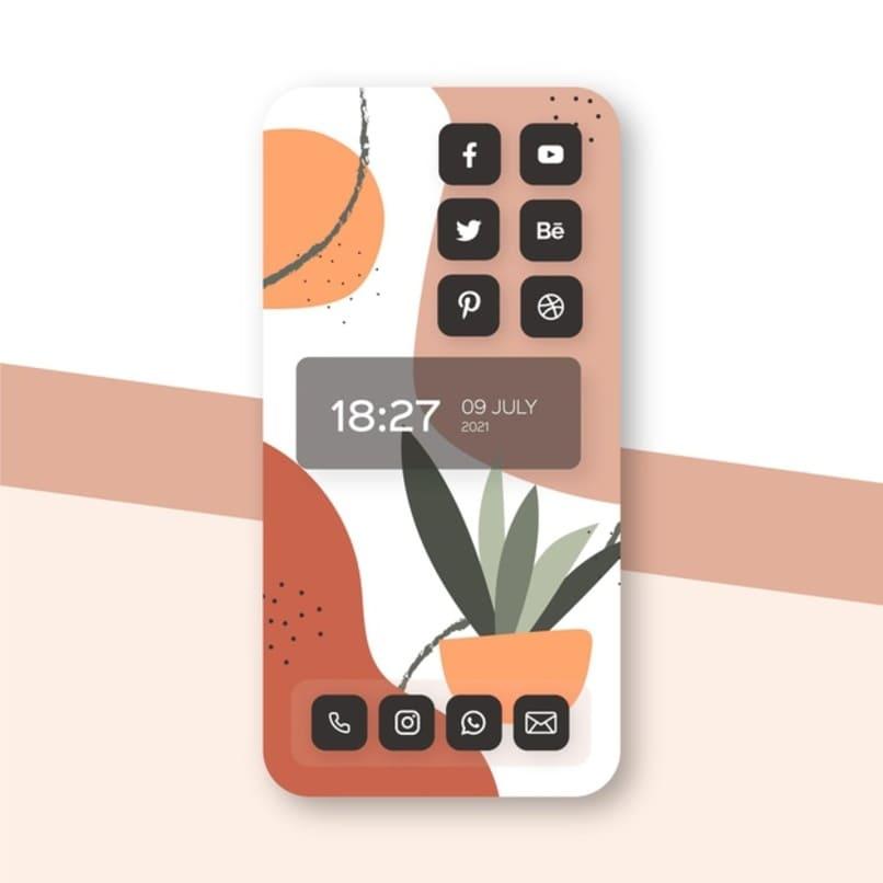 diversos widgets de aplicaciones en pantalla principal de telefono