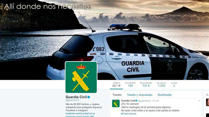 Cuál es el Twitter oficial de la guardia civil española