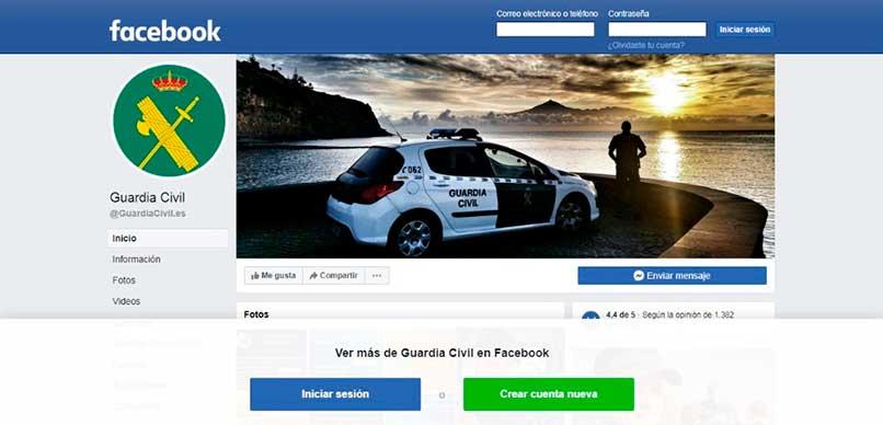 Facebook oficial de la guardia civil española