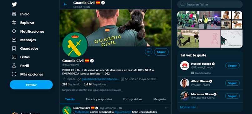 Twitter oficial de la guardia civil española