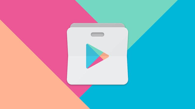icono de tienda google play store en fondo de colores